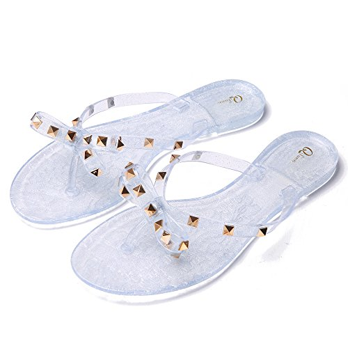 - Qilunn Womens Bow Flip Flop Sandals,Jelly Thong Flat Sandals Summer Beach Shoes with Rubber Rivets Bowtie Flip Flops,8 B(M) US/40m EU/25cm Glitter Clear