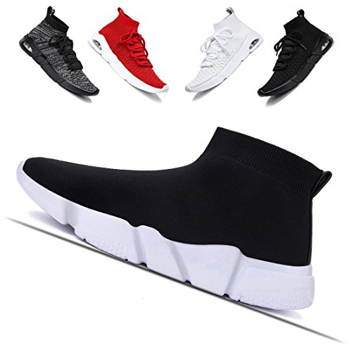 Ceyue Men's Women's Sport Shoes Casual Knit Breathable Walking Sneaker Black Lightweight Unisex Running Shoes Athletic Shoes Black