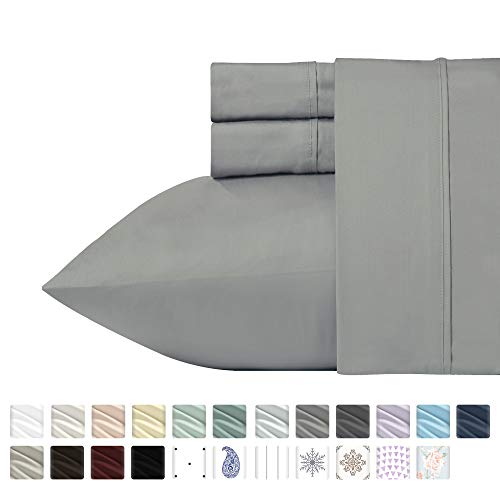 400 Thread Count 100% Cotton Sheet Set, Slate Grey Queen Sheets 4-Piece Long-staple Combed Pure Natural Best Cotton Bed Sheets For Bed, Soft & Silky Sateen Sheets Fits Mattress Up to 18'' Deep Pocket