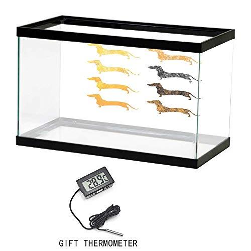 - Aquarium Background Poster Fish Tank, Dachshund, Vintage Dog Silhouettes with a Grunge Theme Domestic Pets Pattern, Marigold Black Orange, 24