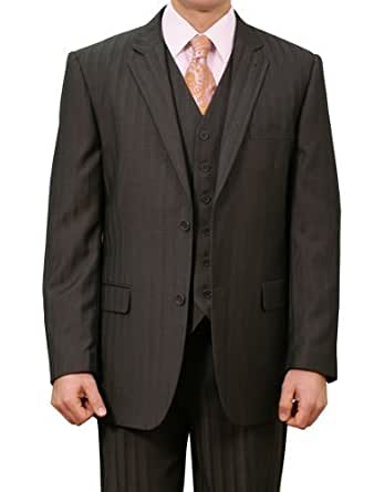 Elegant Men's Two button Three piece Strip Suit (38Short, Black)