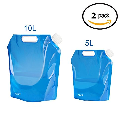 Ariel-gxr Collapsible Water Container, 5L + 10L Portable Foldable Water Tank BPA Free Plastic Water Carrier for Hiking Camping Picnic Travel ()
