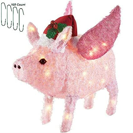Christmas Flying Pig with Santa Hat Yard Decoration Light Up LED Fluffy 26  Inch with Christmas - Amazon.com: Christmas Flying Pig With Santa Hat Yard Decoration