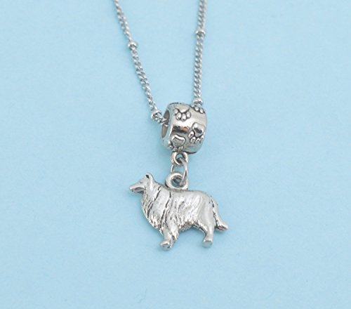 Collie in silver pewter Charm Necklace. Collie dog necklace. Dog jewelry. Dog necklace. Dog charms. Sheltie Dog.