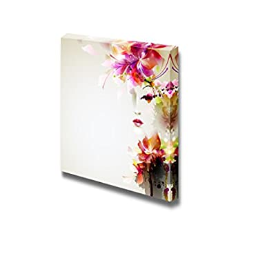 Canvas Prints Wall Art - Beautiful Fashion Women with Abstract Floral Elements | Modern Wall Decor/Home Art Stretched Gallery Wraps Giclee Print & Wood Framed. Ready to Hang - 24