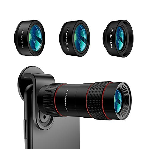Phone Camera Lens - [Upgraded Version] AiKEGlobal iPhone Lens 4 in 1 120°Super Wide Angle Lens,20x Macro Lens,198°Fisheye Lens & 14X Zoom Telephoto Phone Lens for iPhone X XS 8 Samsung & Andriod