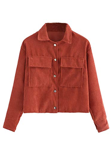 Milumia Women Button up Corduroy Jackets Fall Winter Long Sleeves Outerwear Orange S ()
