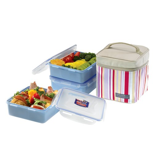 LOCK & LOCK Square Lunch Box 3-Piece Set with Insulated Stripe Bag, HPL823RP, Total 10.8-cup, ()