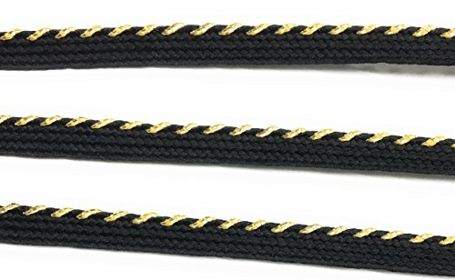 Metalic Gold / Black Cord-edge Spiral Piping Trim LIP Cord 1/8'' for Clothing Pillows, Lamps, Draperies 5 Yards - Edge Spiral