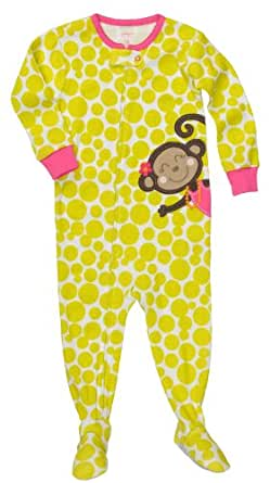Amazon Com Carter S Girls Monkey Lime Pink Polka Footed
