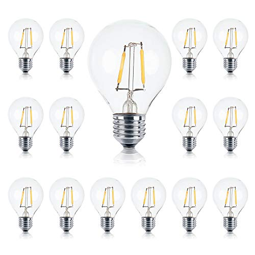Brightech - Ambience PRO LED G40/G45 1 Watt Soft White 3000K Bulb - Use to Replace High-Heat, High-Cost incandescent bulbs in Outdoor String Lights - Edison-inspired Exposed Filaments Design- 15 Pack
