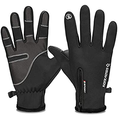 ACVCY Winter Warm Gloves Touch Screen Men Women Windproof Outdoor Running Skiing Driving Thermal Gloves,Black