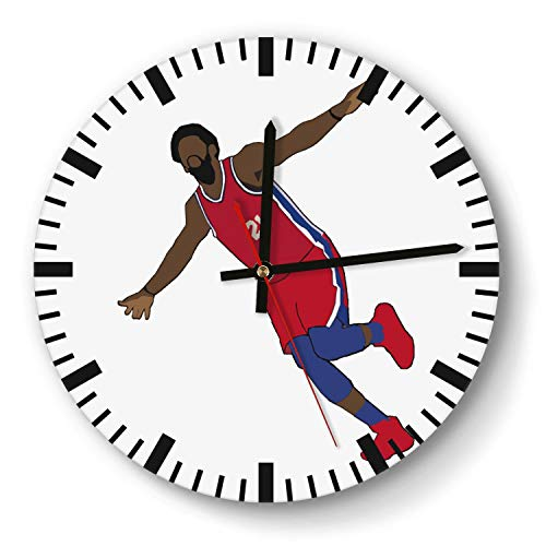 - Design Basketball Game Theme Wooden Wall Clock 11 Inch Diameter Acrylic Non Ticking Silent Sweep Movement Simple Battery Operated Easy to Hang Home Office School Indoor Kitchen Livingroom