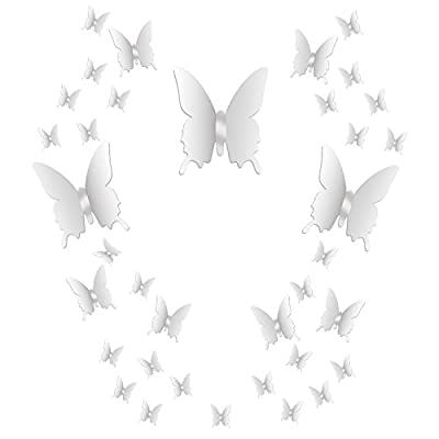 BBTO 36 Pieces DIY Mirror Butterfly Combination 3D Mirror Wall Stickers Home Decoration