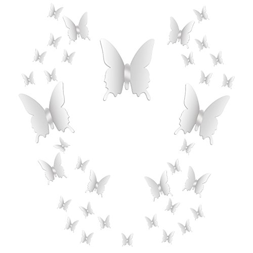 Decal Sticker Mirror - BBTO 36 Pieces DIY Mirror Butterfly Combination 3D Mirror Wall Stickers Home Decoration