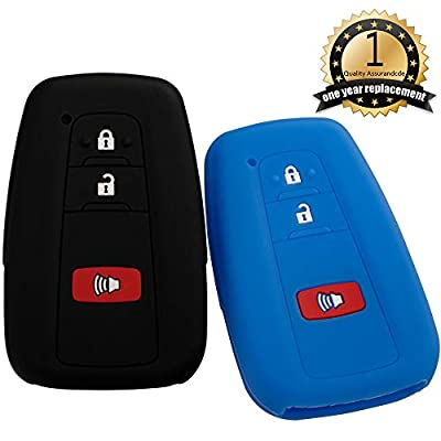 Lcyam Black Blue Soft Material Silicone Key Fob Cover Case 3 Button Fits for Toyota Prius Avalon Corolla Camry RAV4 Smart Keyless Remote: Automotive