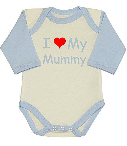 BabyPrem Baby I Love My Mummy Long Sleeved Bodysuit Vest 0-12 mths SKY 3-6
