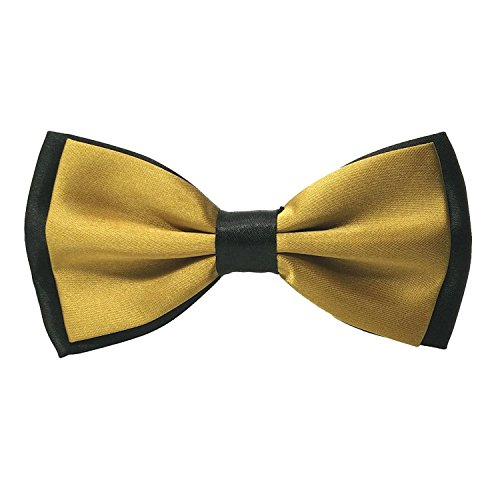 Startby Mens Adjustable Double Layers Contrast Color Bow Ties Pre Tied (Dark Gold)