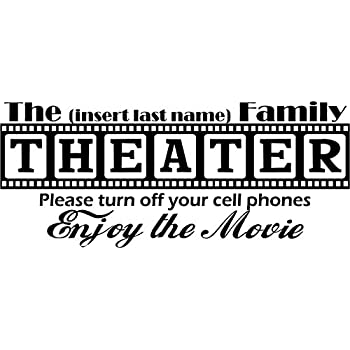 Walls with Style Theater Decal, Personalized with Your Last Name, (Large 40