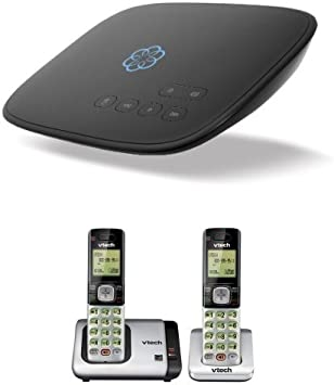 Ooma Telo Home Phone Service with VTech CS6719-2 DECT 6.0 Phone with Caller ID//Call Waiting Silver//Black with 2 Cordless Handsets
