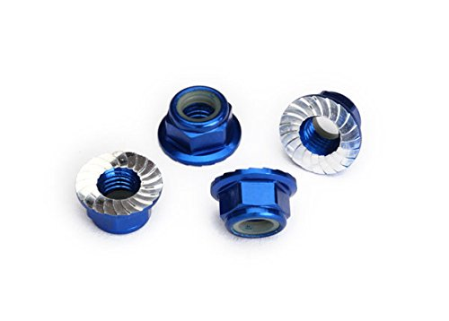Traxxas 8447X Serrated Aluminum 5mm Flanged Nylon Locking Nuts, Blue