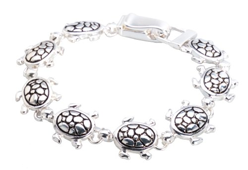 (Jewelry Nexus Silver-tone Sea Turtle Bracelet )