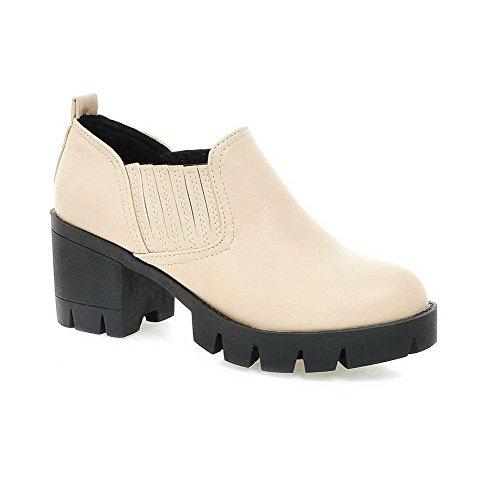 AllhqFashion Damen PU Rein Ziehen auf Rund Zehe Mittler Absatz Pumps Schuhe Cremefarben