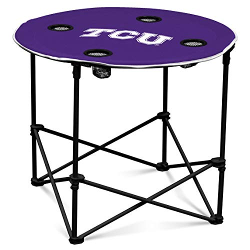 TCU Horned Frogs Collapsible Round Table with 4 Cup Holders and Carry Bag