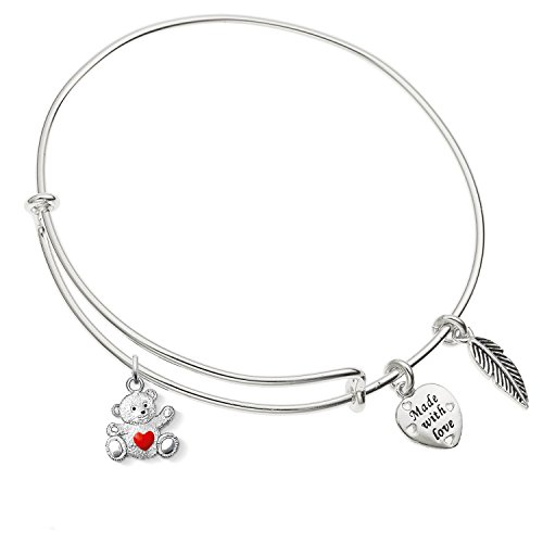 (Enni of York I Love You Charity Love Bear Charm Expandable Silver-Tone Bangle Bracelet)