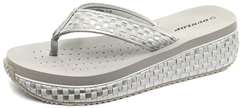 Dunlop Interwoven 2016 Silver Womens Low Wedge Flip Flops, Size 7
