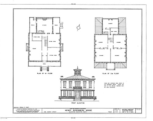 Historic Pictoric Structural Drawing HABS TEX,84-GALV,13- (Sheet 5 of 5) - Henry Rosenberg House, 1306 Market Street, Galveston, Galveston County, TX 55in x 44in