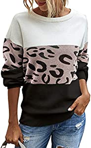 PRETTYGARDEN Women's Casual Long Sleeve Off Shoulder Knitted Sweater Leopard Print Color Block Loose Pullover