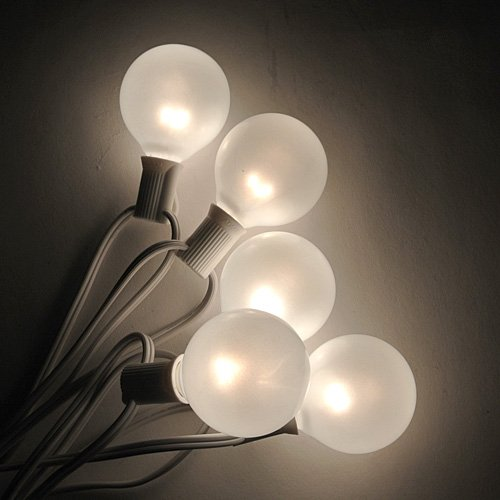 Globe Patio Lights - 100 ft C7 White Cord - G50 White Satin Bulbs