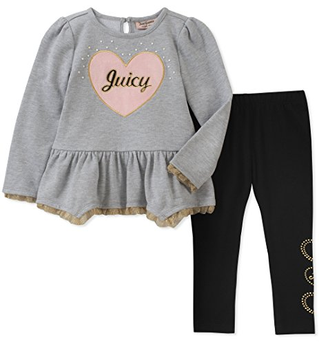 Juicy Couture Baby Girls 2 Pieces Tunic Legging Set, Gray Heather/Black, 24M -
