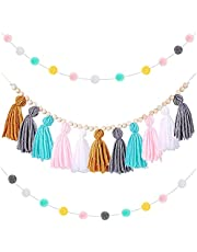 kitbooly Boho Tassel Garland Tassel Wall Hanging Decor Pastel Tassel Banner with Wood Beads and 2 Pieces Colorful Pom Pom(D)