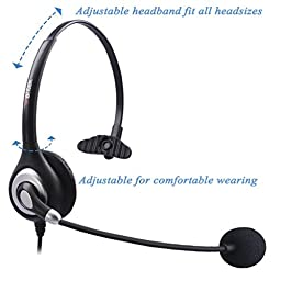 Arama Wantek Mono Headset with Noise Canceling Boom Mic and Adjustable Fit Headband for iPhone Samsung LG HTC Blackberry Huawei ZTE Mobile Phone and Smartphones with 3.5mm Jack (A600MP)