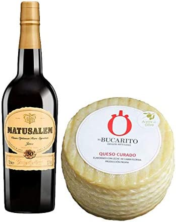 Pack de Vino Oloroso Dulce Matusalem y Queso Curado en Aceite de Oliva Pasteurizado - Vino de 75 cl y Queso de 850 g aprox - Mezclanza