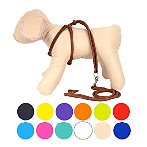 CollarDirect Rolled Leather Dog Harness Small Puppy Step-In Leash Set for Walking Pink Red White Blue Green Black Purple Beige Brown Yellow (Brown, XS)