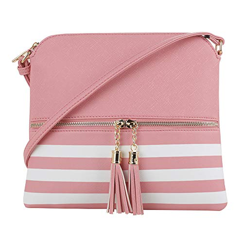 SG SUGU Lightweight Medium Crossbody Bag with Tassel and Zipper Pocket (XB Pink)