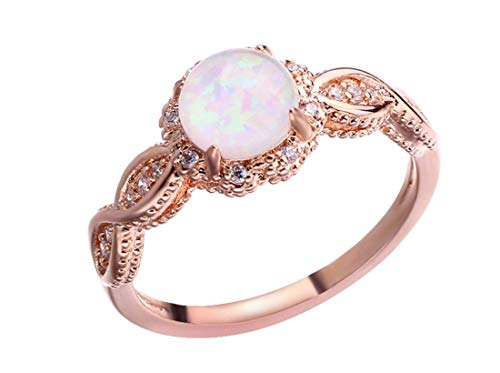 Aimys Rose Gold Color Flower Shape Women Finger Rings White Fire Opal CZ Fashion Party Jewelry Women Opal Promise Rings Size 6-9 (7)