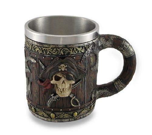 Figurine Wood Look Pirate Skull Drinking Tankard Gothic Coffee Cup Mug by Things2Die4