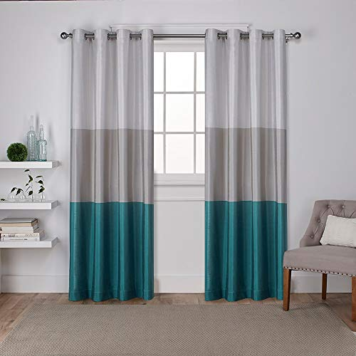 Exclusive Home Curtains Chateau Striped Faux Silk Window Curtain Panel Pair with Grommet Top, 54x96, Teal, 2 Piece ()