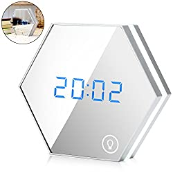 Alarm Clock with Ebook, ISUDA 3 in 1 Clock, Alarm Clock, Make-Up Mirror & Night Light Clock with LED Digital Thermometer, Rechargeable Digital Clock, Table Lamp, Travel Alarm Clock - Silver