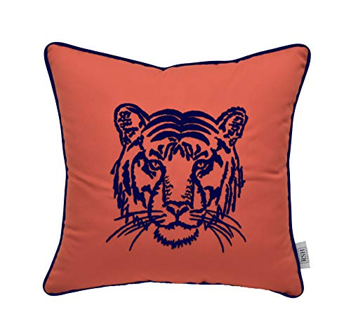- Resort Spa Home Decor Eye of The Tiger Striking Embroidered Monogram Decorative Accent Throw Pillow - Canvas Melon Orange Embroidered in Navy Blue with Piping