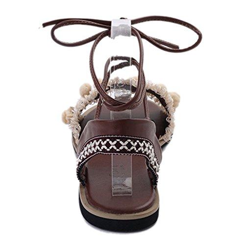 las coreano plana inferior Blanco crema Sandalias verano estudiante femenino la playa romanas parte de de tirantes sandals mujeres zapatos Bohemia de de zapatos de sandalias de 7q4R0