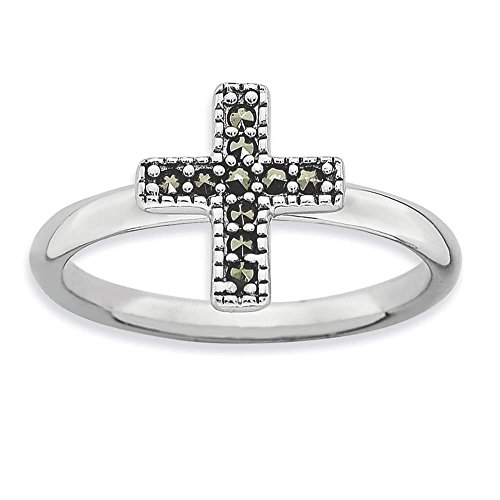 - 925 Sterling Silver Rhodium-plated Polished Marcasite Cross Ring by Stackable Expressions Size 10
