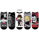 Death Note Socks Women & Men's (5 Pair) - Low Cut Death Note Cosplay Socks - One Size Fits Most