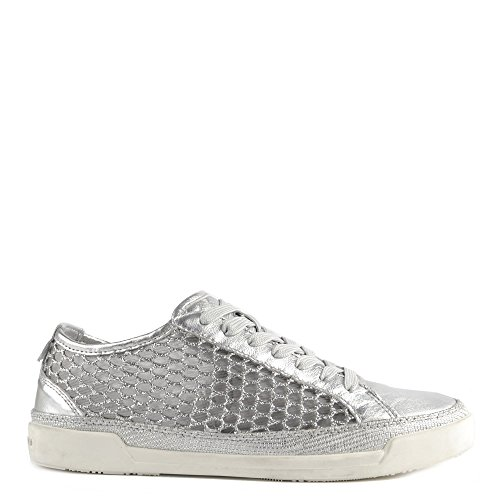 Crime London Haz Silver Leather and Glitter Mesh Low Top Trainer Grey