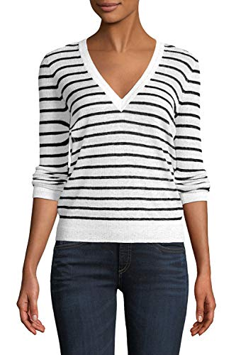 Viottis Womens Soft Ribbed Knit Military V Neck Striped Sweater Pullover Top