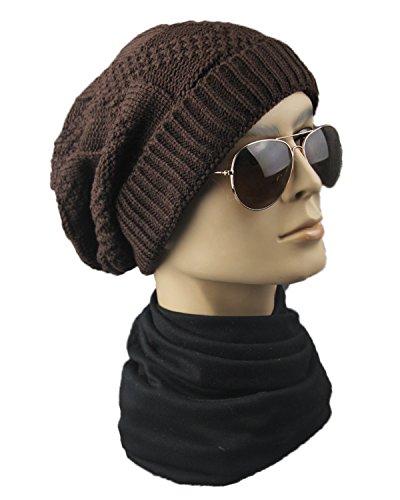 opuesta lana punto unisex de elásticos de de hip hop tejida montón Marrón Sombreros Sombreros lateral Sombreros de gorrita awf6g